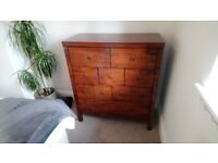 Dark wood Chest of drawers and Matching Bedside Tables