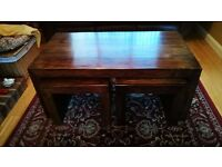 Mango Wood Coffee Table with Two Occasional Tables -