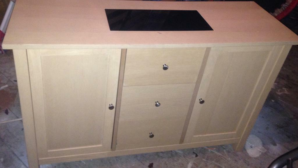 Solid beech wooded side cupboard with drawers very good condition can deliver