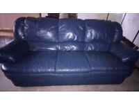 Leather 3 Seat Italian Sofa, in good condition. Blue/gray with no marks or sign of wear and tear.