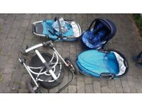 Quinny Buzz travel system, carry cot, car seat, buggy seat