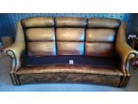 Vintage/Retro High Back Leather Sofa and Chair