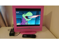 "TV Techwood 15"" LCD PINK Freeview - 12V"