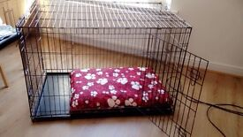 Dog cage/crate flat folding 4ft/3ft double door