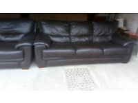 BROWN LEATHER 3 SEATER SOFA AND 2 MATCHING CHAIRS ULTIMATE COMFORT VIEWING WELCOME