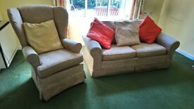 Double sofa bed and single high back chair