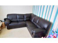 New brown corner sofa