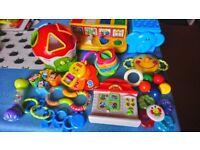 Bundle of infant toys.