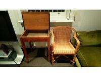 School desk and wicker chair