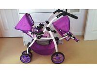 Dolls Tandem Stroller Pushchair
