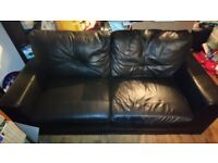 2 Black 2 Seater Sofas Leather Looking (Free)