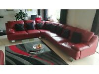 Red leather sofa for sale L shape