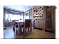 Solid oak dining room table and 6 chairs extendable family suede
