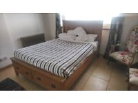 Solid oak double bed with mattress