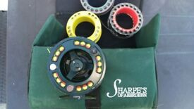 SHARPS of aberdeen FLY FISHING REEL 4spools all loaded good quality