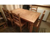 Solid Wood Dining Table & 4 Chairs