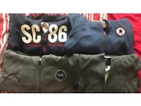 Assorted zip up jackets with hoods