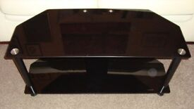 NEW TV STAND television table unit black glass