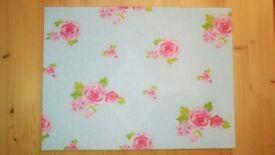 English Rose Glass Cutting Board / Tray