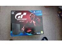 Black PS4 500GB with Gran Turismo Sport+1 controller. Brand New unopened in Box