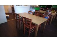 4 dining tables and 8 chairs