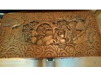 Large, oriental-style, beautifully carved camphor chest