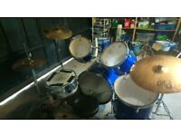 Performance Percussion 5pc Drums w/ Sabian Cymbals + Extras (Price ONO)