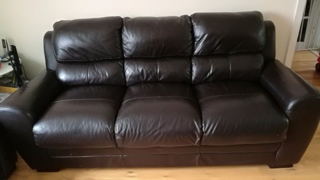 Black 3 seater leather sofa for sale + free 2 seater leather sofa