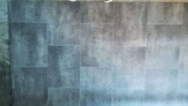 "3m x 4.8m x 3mm (9'10"" x 15'9"" x 1/8"") Grey Tile Effect Vinyl Flooring (New)"