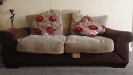 Set of 2 suede and fabric sofas