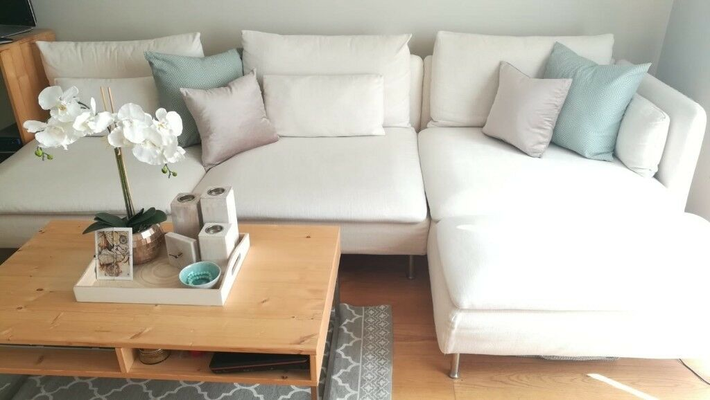 4 Seater Off White Beige Corner Sofa