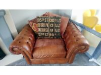 Barker and stonehouse leather and fabric Chesterfield style snuggle chair