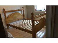 Kingsize Canadian pine, solid wood bed frame, excellent condition