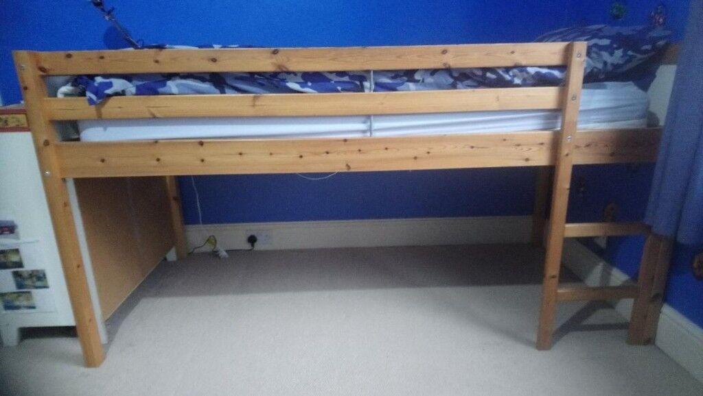 Ikea Vradal Children S Single Mid Sleeper Loft Bunk Bed Wood Frame