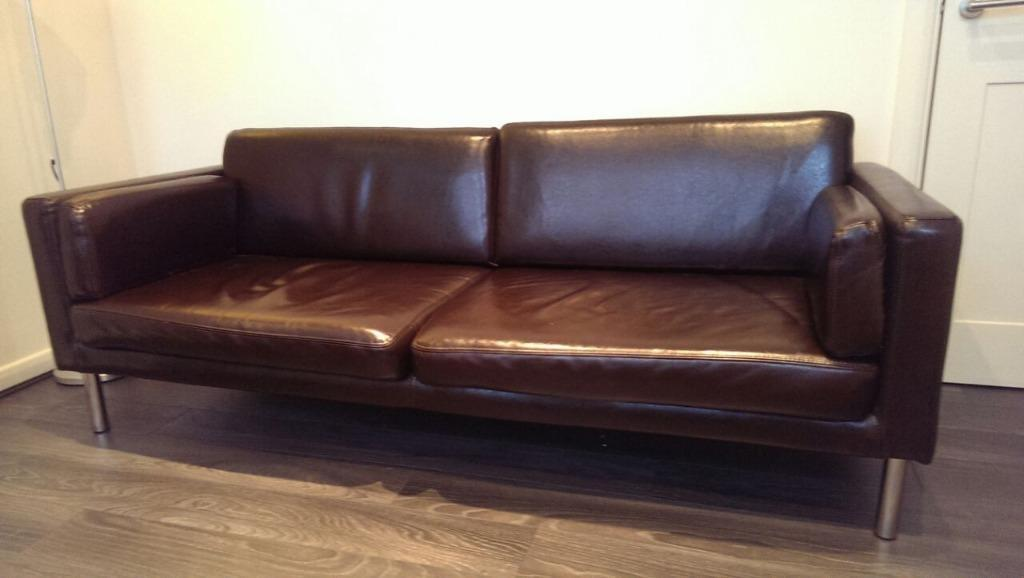 Ikea Brown Leather Sofa In Derby Derbyshire Gumtree
