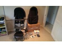 Stokke Xplory Pushchair with Carrycot (both used) and Maxi-Cosi Cabriofix package (brand new)