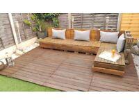 Big wooden deck decking panels
