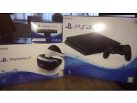 BLACK PS4 SLIM 500GB WITH VR HEADSET AND CAMERA *UNOPENED*