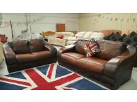 Real leather 3 and 2 seater sofas can deliver