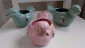 3 Pottery Bird Design Pots by M&S