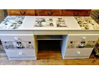 Vintage / Shabby Chic dressing table / Sideboard. Chalk paint, decoupage, lace trim, newly upcycled