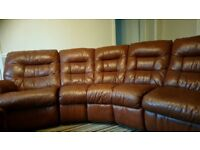 Very good condition! 5 seater twin recliner leather sofa with separate electric recliner and stool