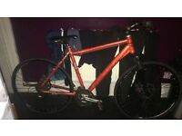 Foisted Mountain road bike orange few scratches disk breaks quick realise wheels