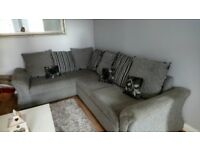 A large corner sofa,matching swivel seat and large foot stool for sale .