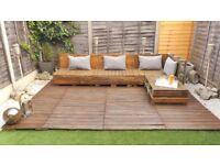 Rustic Unique Handcrafted Pallet Garden Corner Sofa