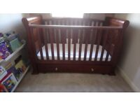 Dark brown cot bed and marching wardrobe