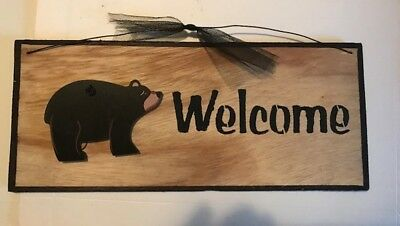 WELCOME BLACK BEAR wood Sign country kitchen lodge wall home decor plaque 12x4