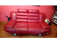 Red 3 seater sofa and 2 seater chaise long