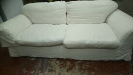 white 3/4 seater settee