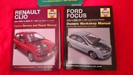 Haynes manuals, Ford Focus MK2 (petrol), Renault Clio and Peugeot 307 (petrol or diesel)